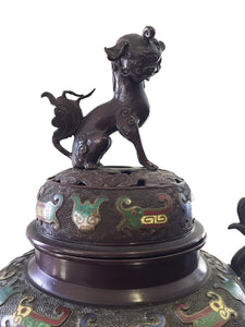 "Superb 19th c Asian Enamel bronze Incense Burner w/Foo Dog 28"" H"