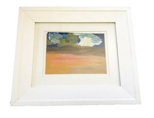 "Acrylic Landscape on Paper Framed Abstract 13.25"" by 11.25"" By YJR"