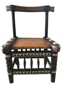 "Old Low African  Baule Chief Chair I Coast 26.75"" H by 16.75"" W"