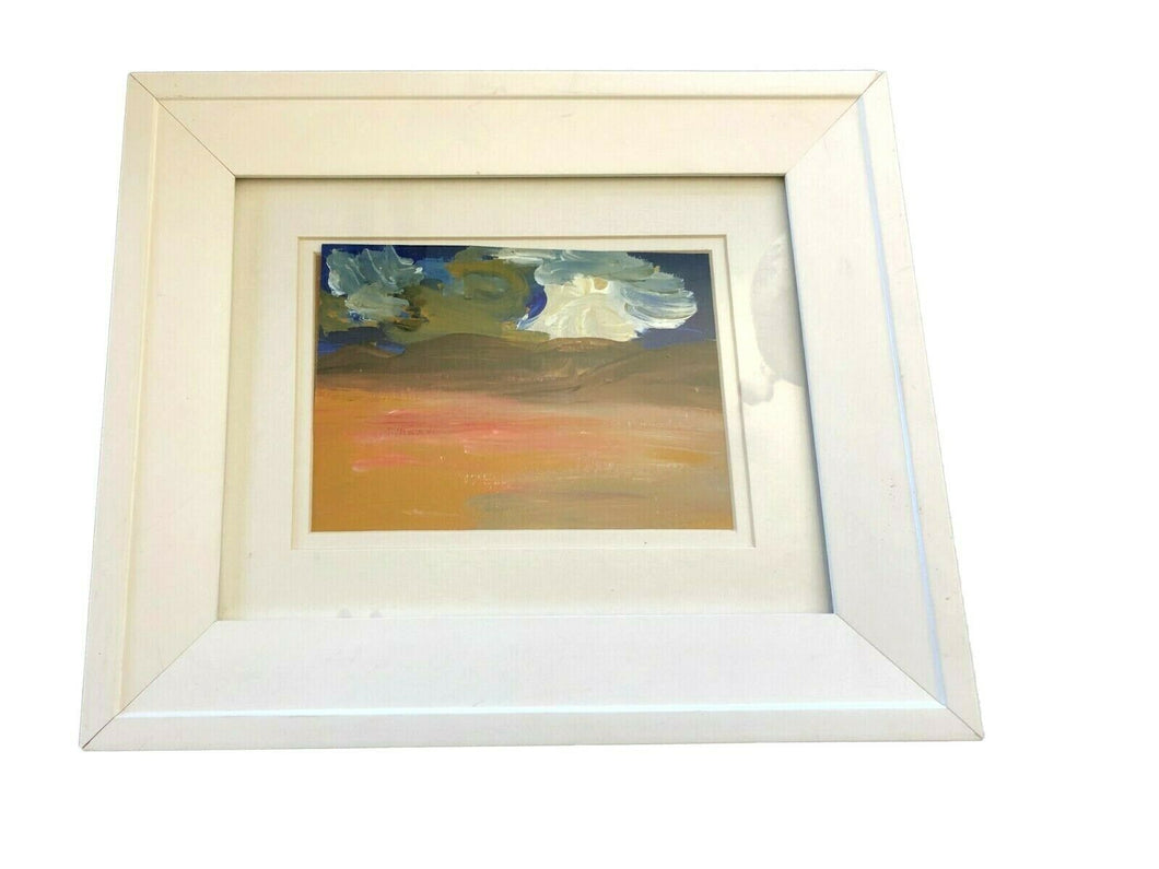 Acrylic Landscape on Paper Framed Abstract 13.25