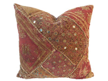 "Load image into Gallery viewer, Superb Custom Made Vtg Patchwork Pillow India 16"" W"