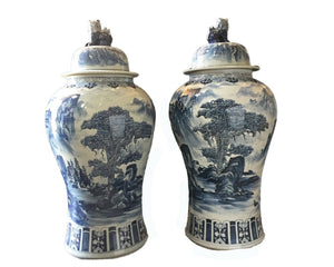 "#917 Mansion Size Chinoiserie B & W Porcelain Ginger Jars - a Pair 47"" H"