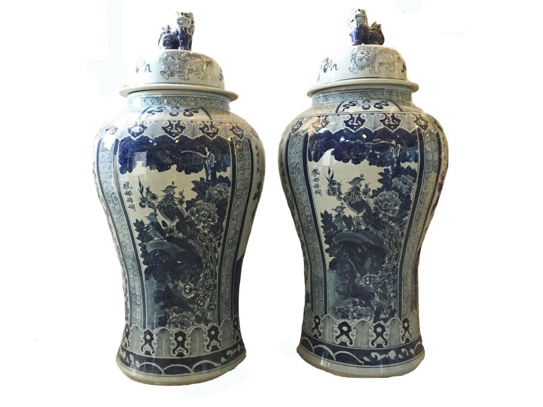 #929 Mansion Size Chinoiserie B & W Porcelain Ginger Jars - a Pair 47