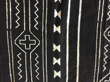 "Load image into Gallery viewer, African Mali Black and White Mud Cloth Textile / PAIR 64"" by 45.5"" Pair # 1839"