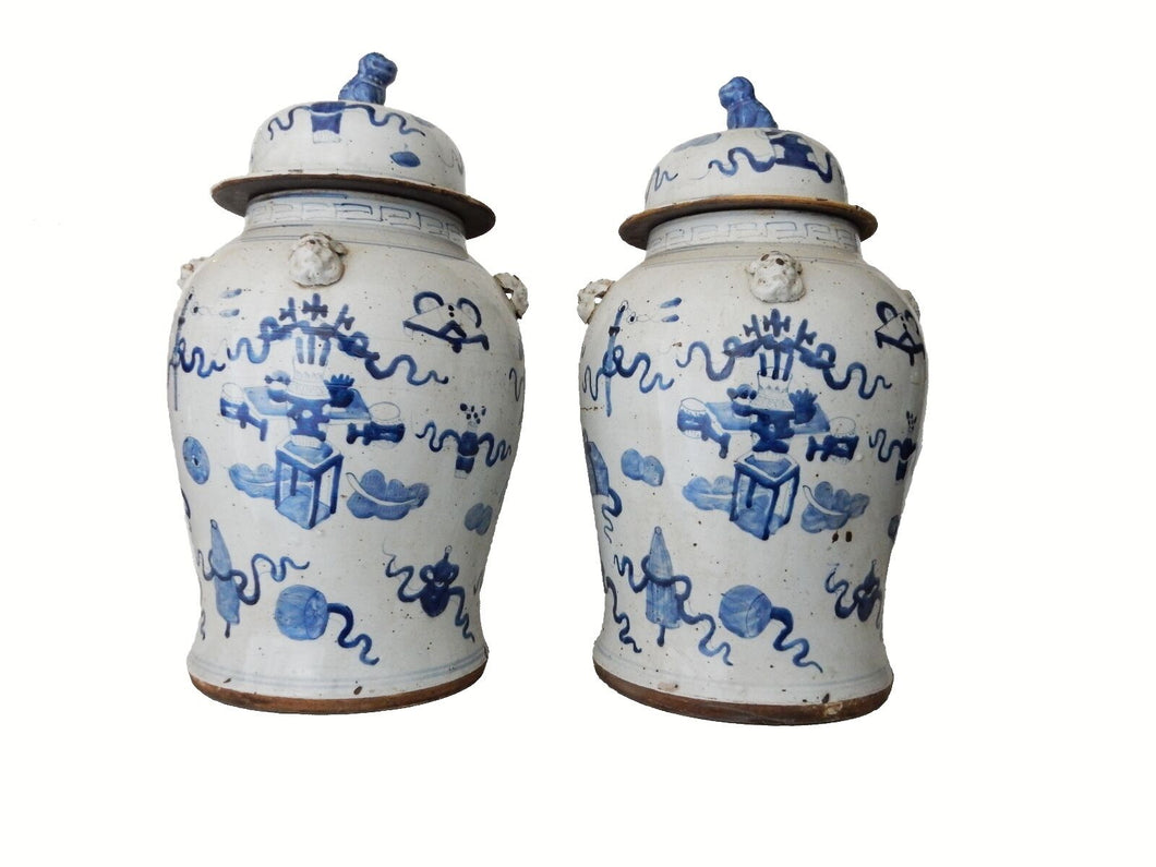 Chinese Porcelain Large B & W Ginger Jars 23