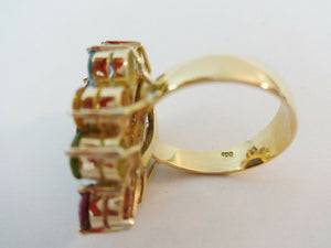 #881 Superb 18K Gold Sapphire Ring w / Assorted colored  Brazilian stones 4.60 carats