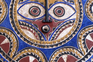 Lg Bwa Sun Mask Blue and Red Burkina Faso 28 Inch African Art