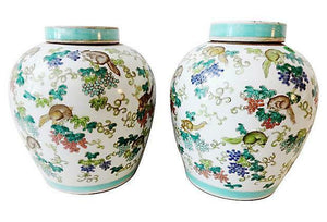 "Superb Chinese Porcelain  Famille Rose Ginger Jars pair 11"" H"