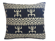 "Load image into Gallery viewer, African Custom Made Black and White Kente Cloth Pillow 20.5"" by 19"""