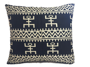 "African Custom Made Black and White Kente Cloth Pillow 20.5"" by 19"""