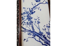 "Load image into Gallery viewer, #781 Chinese H.Painted Large Blue and White Porcelain Wood Panels,Pair 19.5ʺW x 67""H"