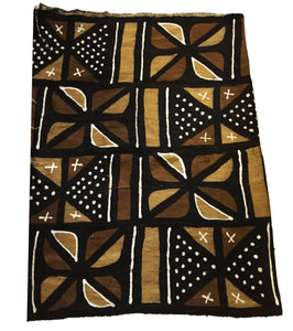 "Superb Bogolan Mali Mud Cloth Textile 42"" by 64"""
