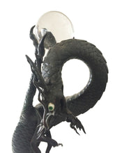 "Load image into Gallery viewer, LG Antique Asian late 19th C Bronze Standing Dragon on base  22"" H"