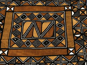 "African LG Brown/Mustard/Black/White Mud Cloth/ Blanket  Mali 62"" by 90"""
