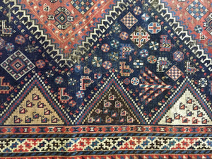 "Superb and Rare Antique Tribal  Persian  Kamseh  /Qasqai Rug  7' 6"" BY 4'.9"""