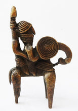 "Load image into Gallery viewer, #990 Superb African Dogon Bronze Horseman Cast Handmade Mali 2.5"" W by 3.5"" H"