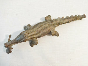 "Superb Bronze AfricanTribal/ Ashanti Akan Of a CROCODILE I Coast 1.5"" h by 11""w"