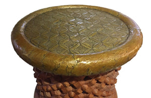 "Superb African Bamileke Stool /Table W Brass Top 16.5"" H by 18 "" D Cameroon"