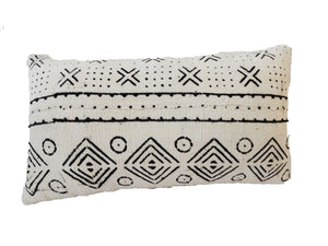 "Mud Cloth Bogolan Lumbar Pillow African Mali 16.5"" by 9.5"" # C"