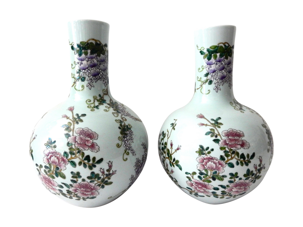 #703 Superb Pair of Chinese Porcelain Onion Shaped Vases S/2  16.5