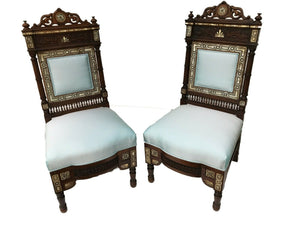"Museum Quality 19th C Moorish/Middle Eastern Pair of chairs 41"" H"