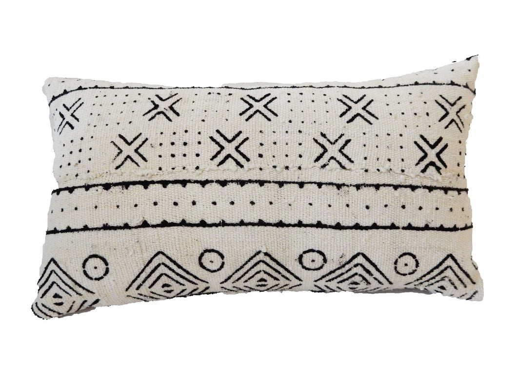 Mud Cloth Bogolan Lumbar Pillow African Mali 16.5