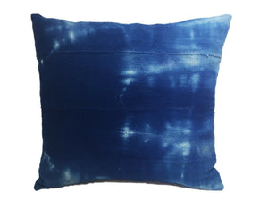 "African Custom Made Indigo  cloth Pillow 17.5"" by 16.5"""