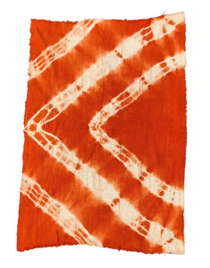 "African Bogolan Textile Mud Cloth Orange & White 44"" by 60"" Set of two"