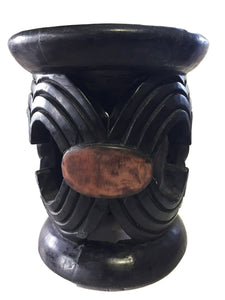 "Superb Old African Bamileke wood Low Stool 14"" H by 12 "" D Cameroon"