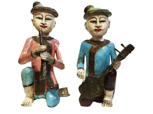 Old Burmese Wood Carved Musician Figures S/2 15