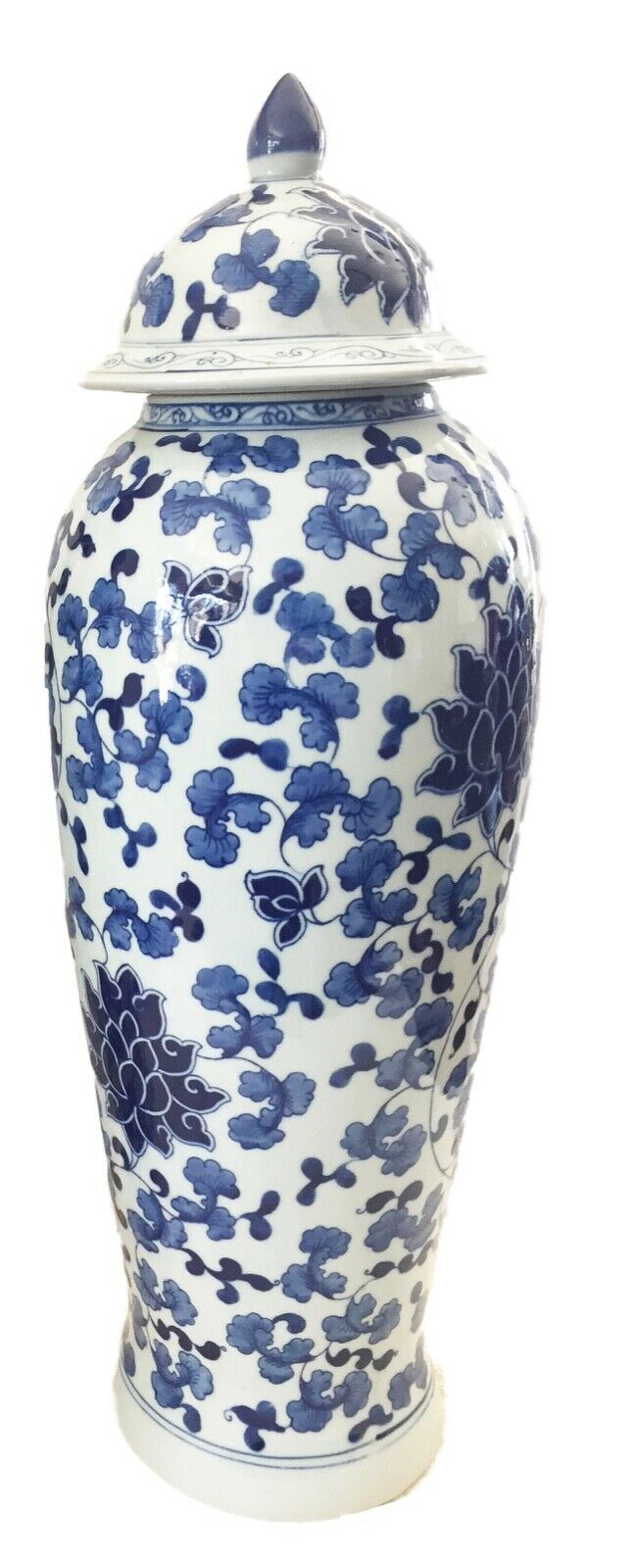 Tall B&W Chinoiserie Porcelain Ginger Jar  23