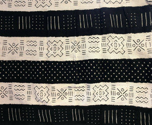 "African  Black and White Mud Cloth Textile Mali 40"" by 60"""