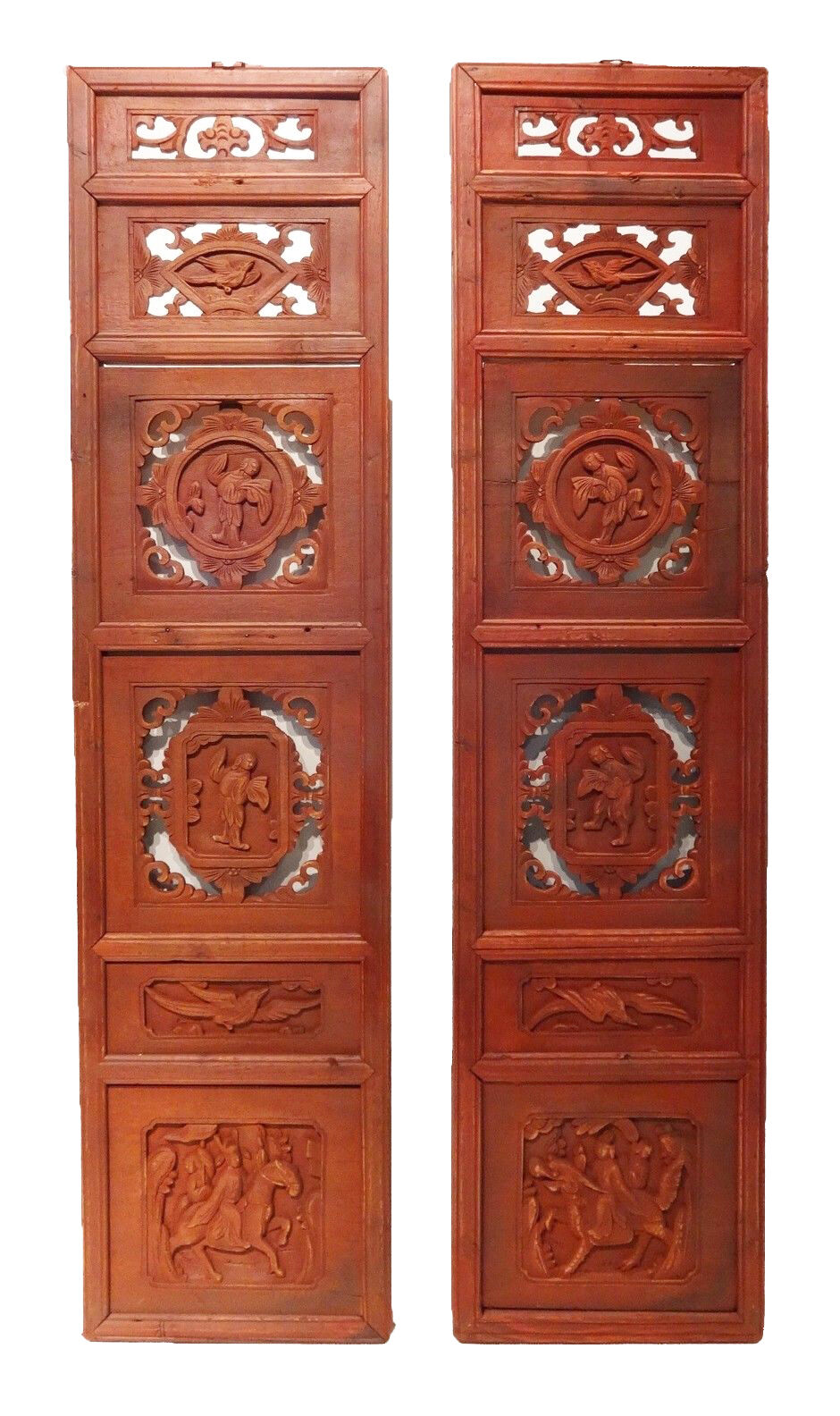 Superb Antique Carved Wood Chinese Wall Hangings/Shutters, Pair 54