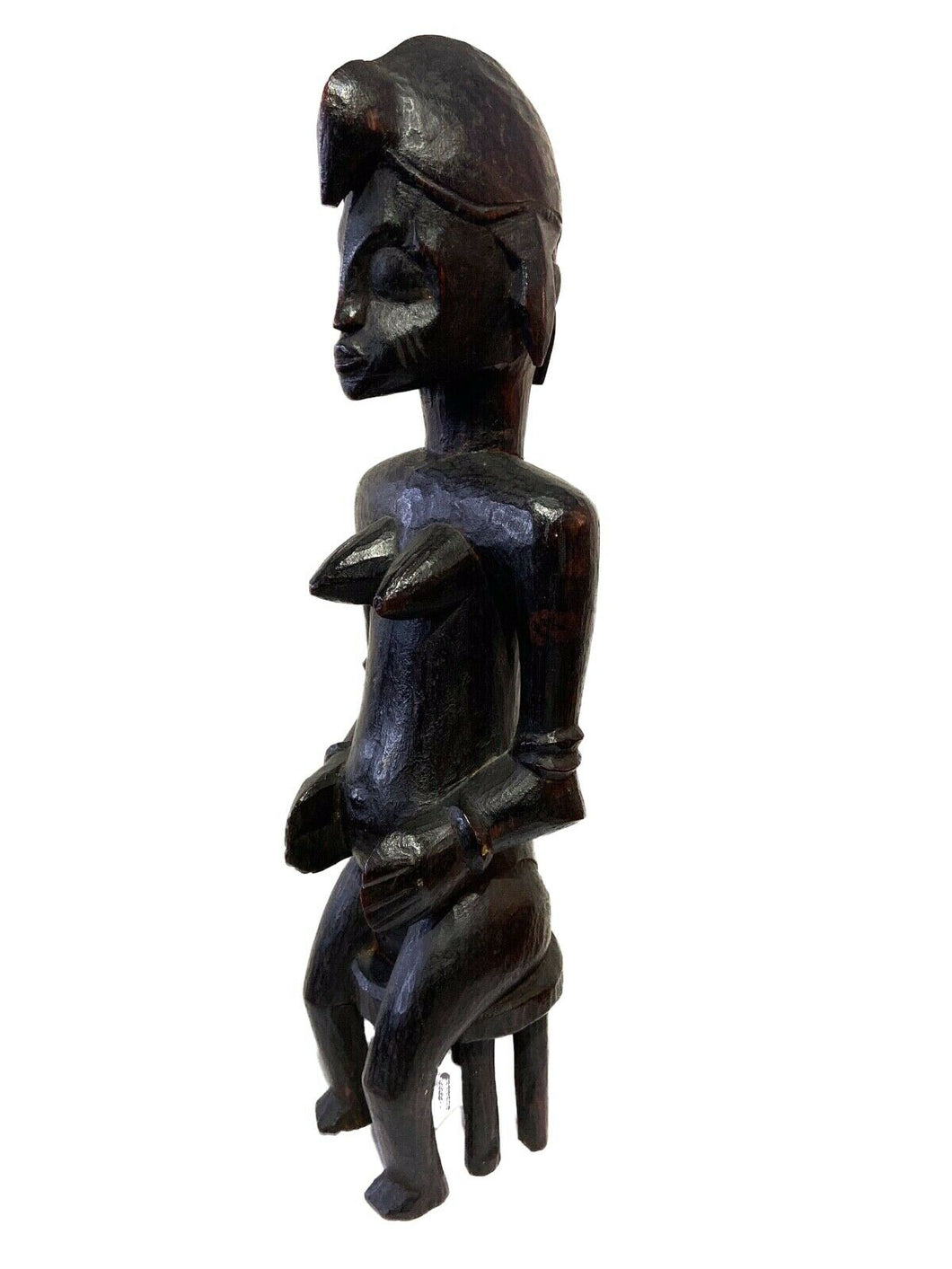 Tanzanian Mid Century Ebony Wood Sculpture of a Seated Female 15.5