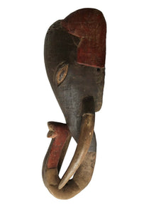 "Superb Baule Tribe Theriomorphic Elephant Mask Côte d'Ivoire 23.5"" H"
