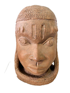 "Superb Large Ife Clay / Terracotta Oba Head  Edo People Nigeria African 12.5"" H"