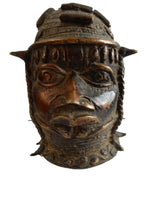 "Load image into Gallery viewer, Stunning Old  Benin Bronze Brass Head of Oba Nigeria African 4.5""H"