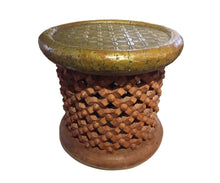 "Load image into Gallery viewer, Superb African Bamileke Stool /Table W Brass Top 16.5"" H by 18 "" D Cameroon"