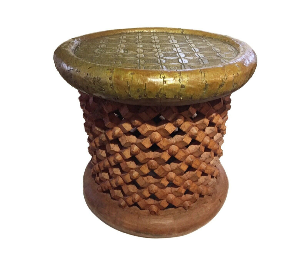Superb African Bamileke Stool /Table W Brass Top 16.5