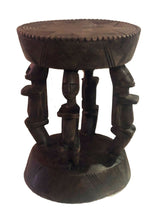 "Load image into Gallery viewer, #652 African Dogon  Carved Wood Milk Stool Mali 12"" H by 9.25"" D"