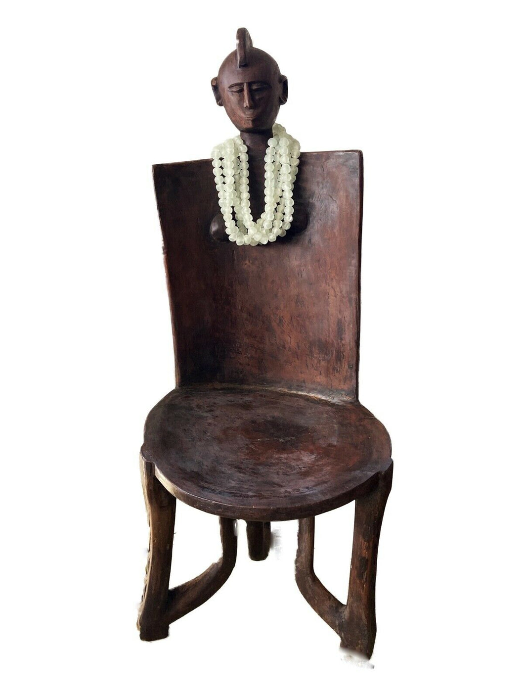 #718 Old LG African 3-Legged Makonde Chair  Tanzania 55