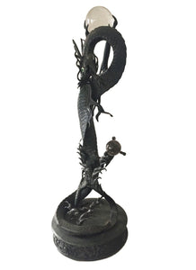 "LG Antique Asian late 19th C Bronze Standing Dragon on base  22"" H"