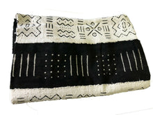 "Load image into Gallery viewer, African  Black and White Mud Cloth Textile Mali 40"" by 60"""
