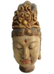 "Superb LG Chinese Wood head Of A Kuan Yin  16.5"" H"