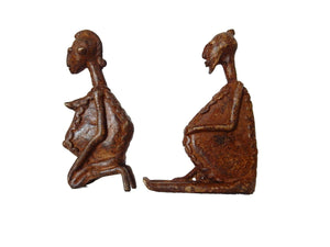 "Dogon Stone and Bronze Figures of a Couple Mali Africa 5"" h"