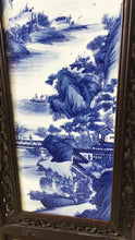 "Load image into Gallery viewer, Superb LG Chinese  Blue and White Porcelain Wood Panel 47"" H"