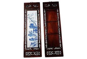 "#781 Chinese H.Painted Large Blue and White Porcelain Wood Panels,Pair 19.5ʺW x 67""H"