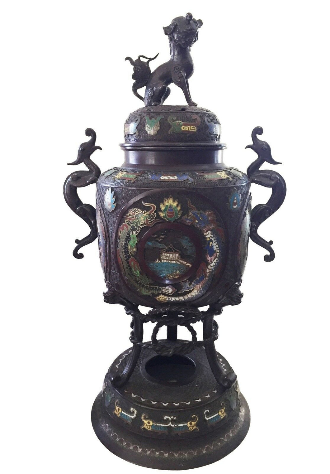 Superb 19th c Asian Enamel bronze Incense Burner w/Foo Dog 28
