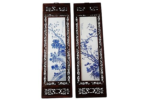 #781 Chinese H.Painted Large Blue and White Porcelain Wood Panels,Pair 19.5ʺW x 67