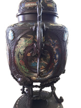 "Load image into Gallery viewer, Superb 19th c Asian Enamel bronze Incense Burner w/Foo Dog 28"" H"